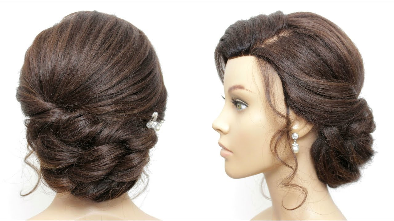 elegant bridal prom updo tutorial for long and medium hair.