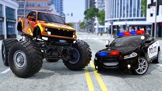 Police Car Pursuit Monster Truck | Wheel City Heroes