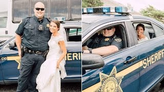 Bride Hitches Ride to Ceremony in Deputy's Car When Limo Breaks Down thumbnail