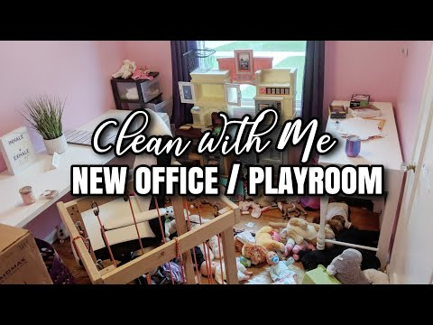 EXTREME CLEAN WITH ME | NEW OFFICE AND PLAYROOM | MESSY HOUSE CLEANING MOTIVATION