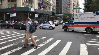 NEW YORK PRESBYTERIAN EMS AMBULANCE, 2 NYPD UNMARKED UNITS & A MARKED NYPD UNIT RESPONDING.