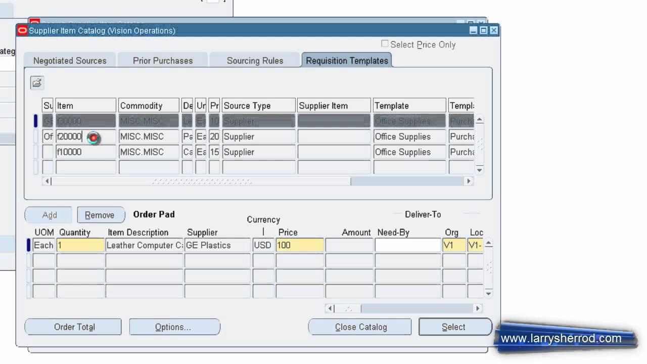PO Purchase Requisitions Using Catalogs, Oracle Applications Training