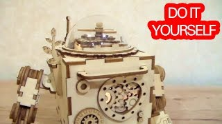 Orpheus Robot DIY Music Box 3D Wooden Puzzle Build ROBOTIME