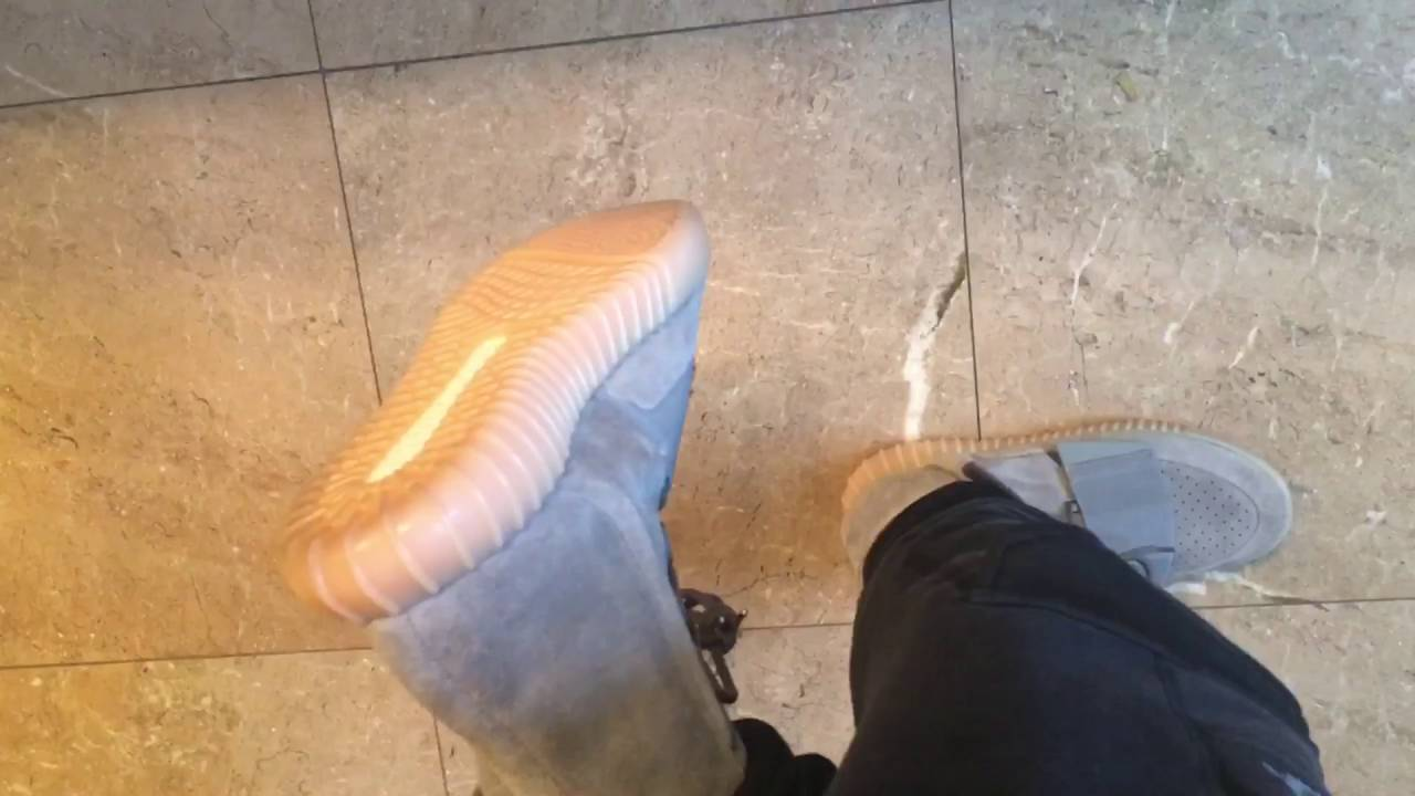 e146d9a28 Adidas Yeezy Boost 750 Brand New Grey Gum Sole on feet Review!! - YouTube