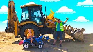 Трактор сломался Малыш помогает папе починить Большой Трактор