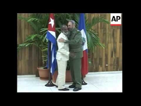 President Fidel Castro hosts Haiti President-elect Rene Preval