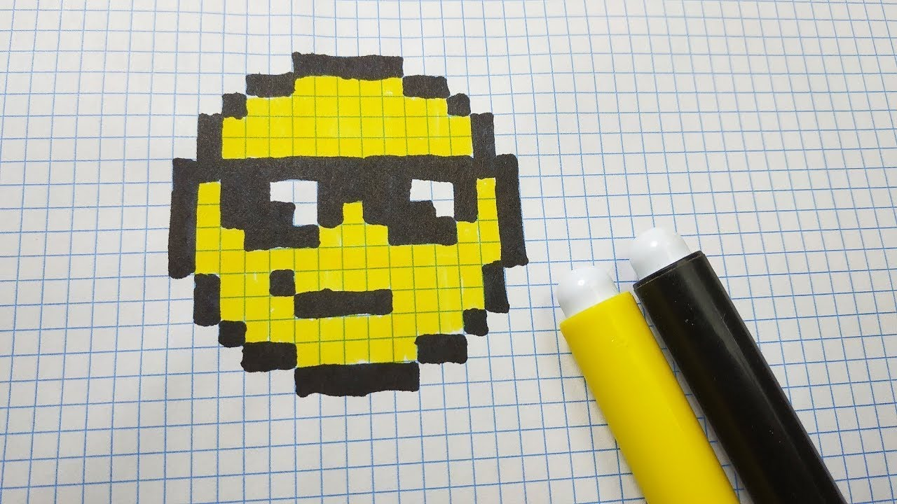 How To Draw Sun Glasses Emoji Pixel Art Tutorial Step By