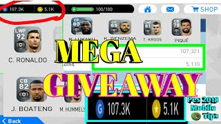 Baixar Mega Giveaway Pes 2018 Mobile| 5.1K Coins and Ronaldo + 7 Black Ball