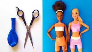👗 DIY Barbie Dresses with Balloons Easy No Sew Clothes | Barbie doll hacks