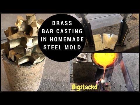 MELTING CASTING BRASS BARS IN HOMEMADE STEEL MOLD