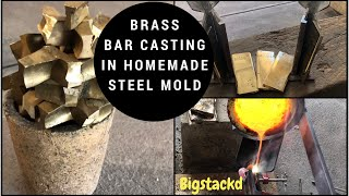 MELTING CASTING BRASS BARS IN HOMEMADE STEEL MOLD