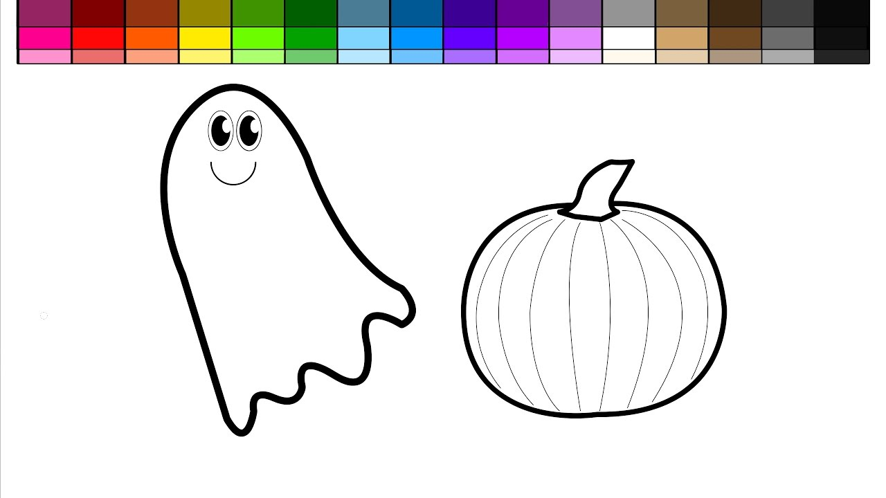 Learn Colors For Kids And Color Halloween Ghost Pumpkins Coloring Pages