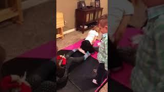 Kids playing Saran Wrap game NYE 2017