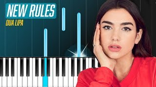 dua lipa   new rules piano tutorial   chords   how to play   cover