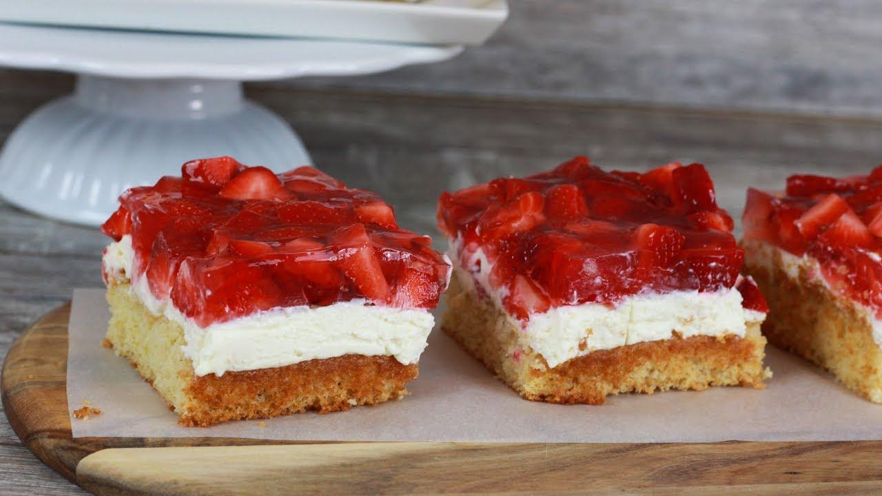 Erdbeerschnitten Mit Quarkcreme Erdbeertorte Erdbeer Schnitten