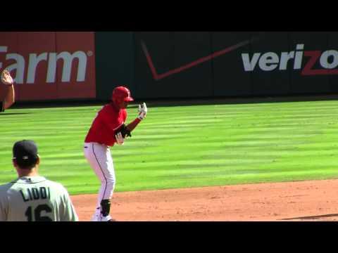 Leonys Martin doubles against Felix Hernandez September 24 2011 Texas Rangers