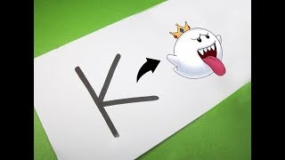 Karikatür KRAL BOO içine Mario Mektup ''K'' nasıl açabilirim . Alfabe ile eğlenceli çocuklar için Çizim