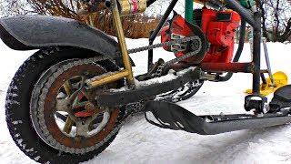 Снегоход из Санок и Бензопилы  Не ожидал такого АДРЕНАЛИНА и скорости