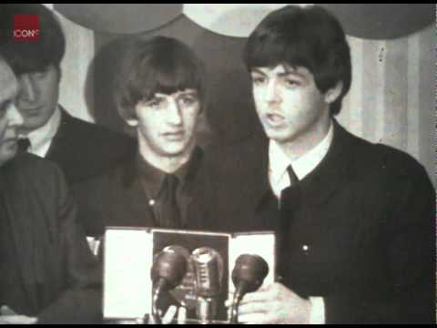 The Beatles being Awarded Silver Hearts by Prime Minister Harold Wilson