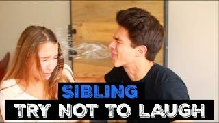 SIBLINGS TRY NOT TO LAUGH CHALLENGE | Brent Rivera