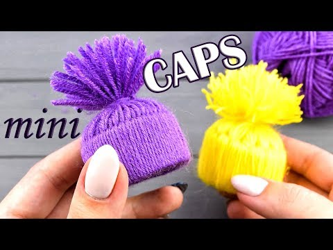 Mini CAPS of paper and yarn WITHOUT KNITTING 💜