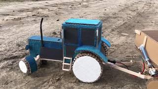 как сделать из картона трактор
