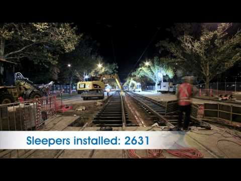 Time lapse footage of Yarra Trams St Kilda Road platform stop construction