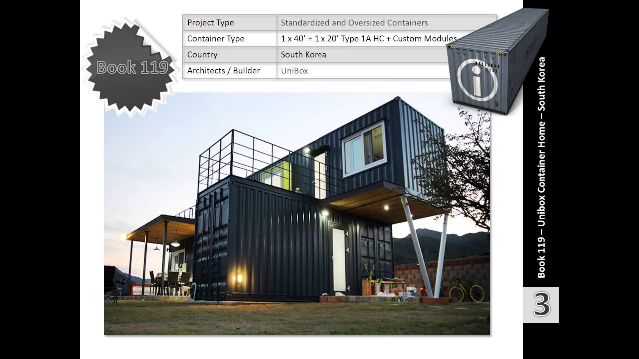 shipping container homes book 119 unibox house korea - youtube