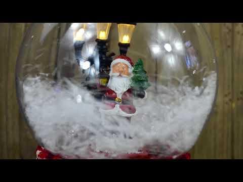Red Santa Lit Indoor Musical Christmas Snow Globe