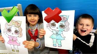 3 МАРКЕРА ЧЕЛЛЕНДЖ с раскрасками куклы ЛОЛ. 3 MARKER CHALLENGE  LOL dolls