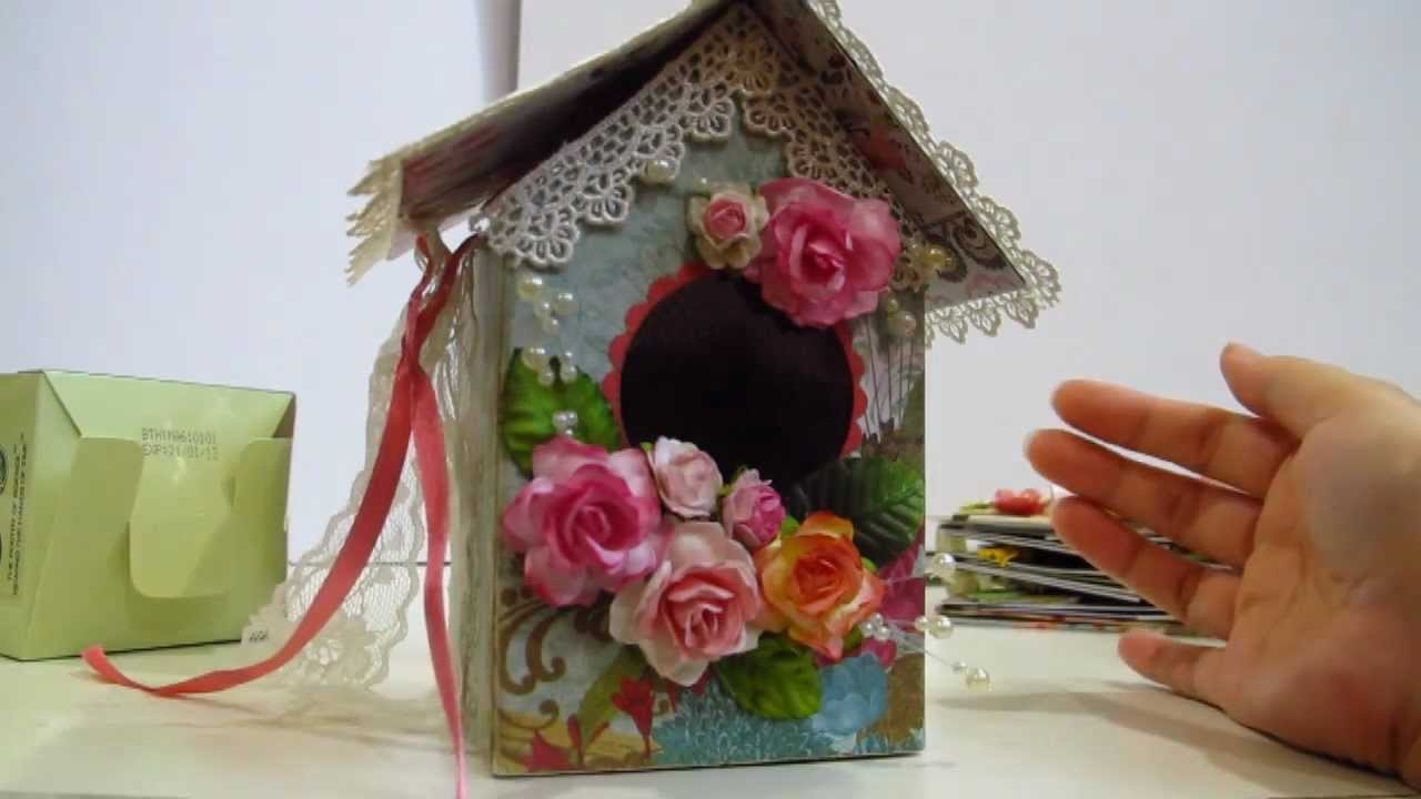 Prima homemade birdhouse made from recycled boxes youtube for How to make homemade bird houses