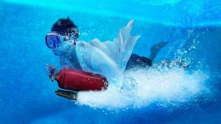 Ускорит ли огнетушитель плывущего человека под водой?