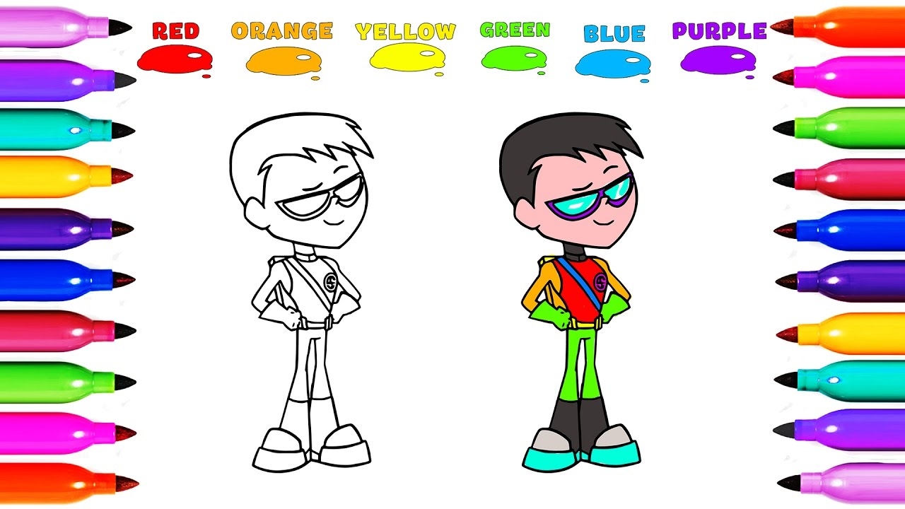 Draw Coloring ROBIN TEEN TITANS Learn colored for Kids ...