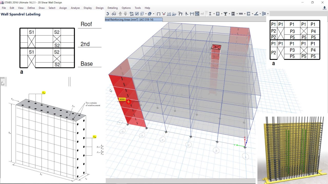 Csi Etabs 22 Shear Wall Design With Simplified C T Uniform Reinforcing General Reinforcing Youtube