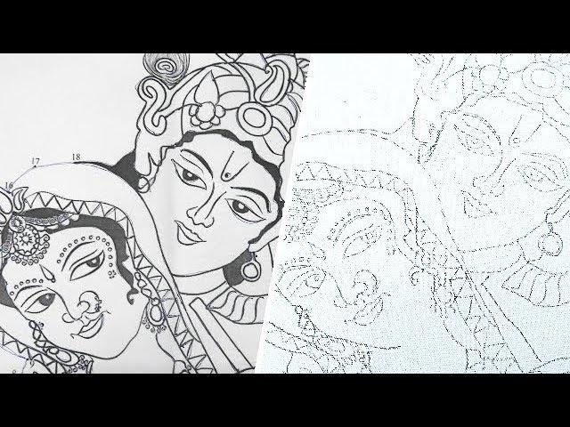 How to trace Radha Krishna on Canvas Board   Tracing Process   Arts   Paintings   UMA