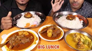 having lunch with brother-fish curry with vegetable+Spicy Chicken Curry and rice-mukbang eating show