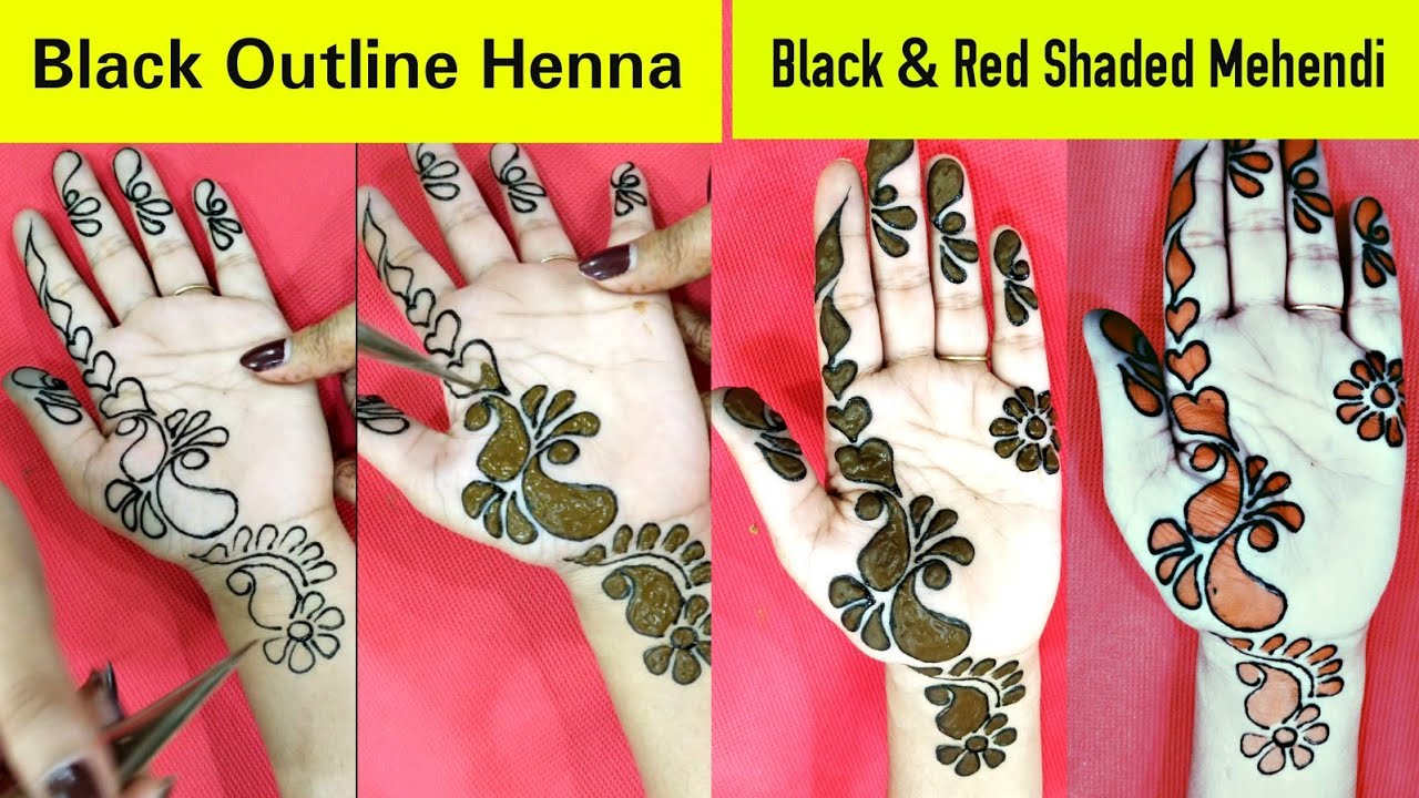 Diy Black And Red Shaded Outlining Mehendi Design Latest 2018 Simple Arabian Shading Henna Design Youtube