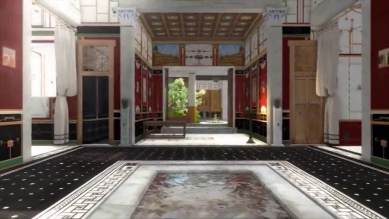 hight resolution of walk around in a 3d splendid house from the ancient pompeii