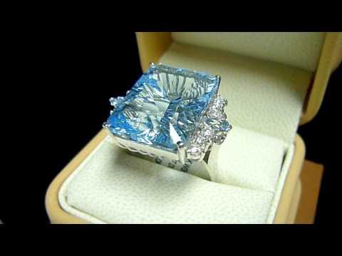 Кольцо с топазом, бриллиантами и аквамарином