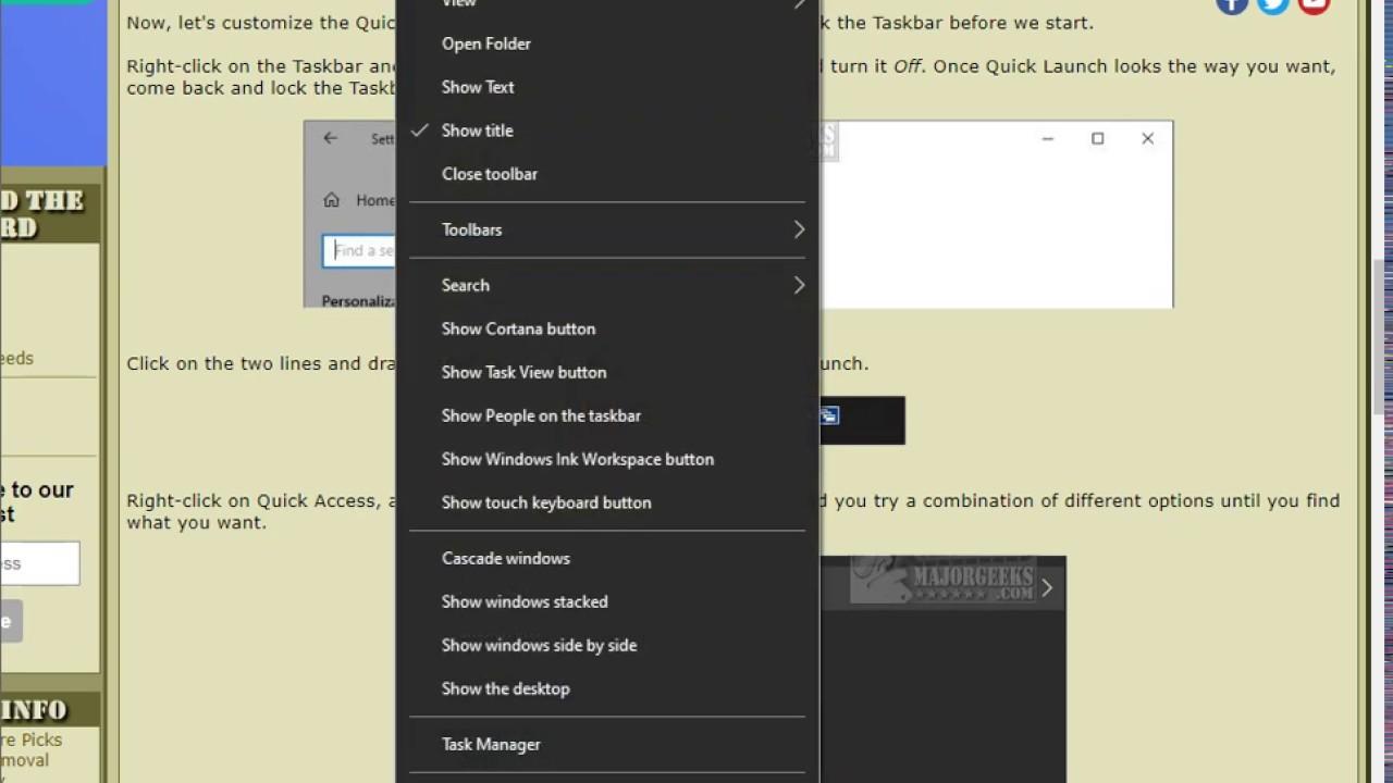 Hướng Dẫn Cách Thêm Thanh Quick Launch Trong Windows 10 - HUY AN PHÁT