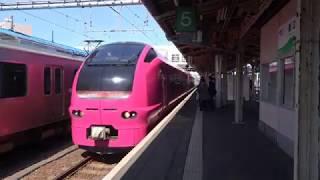 ハマナス編成で運行されたお得な列車、臨時快速「高田お花見」号。(直江津駅~高田駅 車窓)
