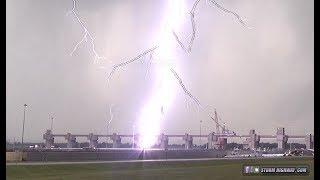 Intense lightning strikes Mississippi River bridge and locks - Alton, Illinois - August 6, 2018