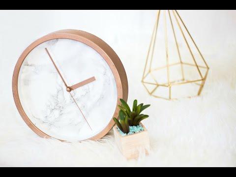 DIY Rose Gold Marble Clock