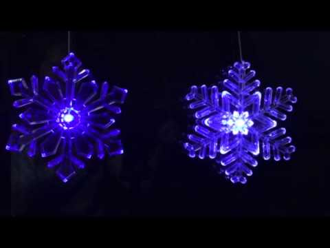 Lighted Outdoor Snowflake Ornament - Size 6 inches Blue//White Transitioning LED with 6 Hr Timer Design 2