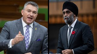 Tense exchange between Defence Minister Sajjan and MP Bezan over Vance misconduct allegations