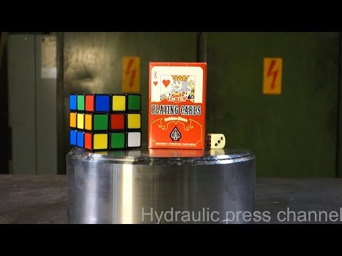 Crushing Rubik's cube & playing cards with hydraulic press
