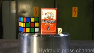 crushing rubik s cube playing cards with hydraulic press