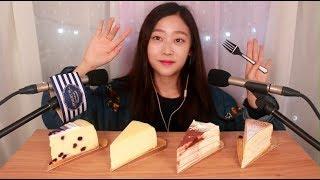 [ASMR] 꾸덕꾸덕한 치즈케이크와 크레이프 케이크 이팅사운드 Cheesecake & Crepe Cake Eating Sound
