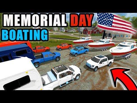 MEMORIAL DAY BOATING & CAMPING | USA THEME TRUCKS & CAMPERS | FARMING SIMULATOR 2017