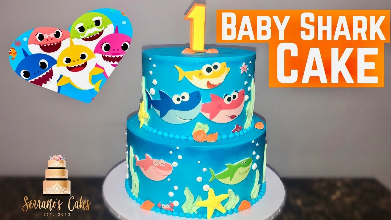 Baby Shark Cake Using Edible Image Youtube